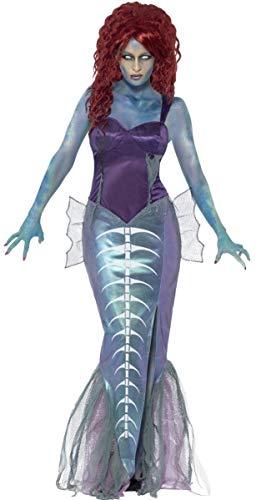 Damen-Zombie Meerjungfrau Halloween Mythisch Biest Meerestiere Gedreht Märchen Aerial Kostüm Kleid Outfit - Lila, 8-10