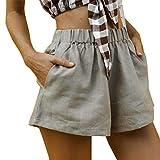 b8c45b36f08 beautyjourney Pantalones Cortos de Verano para Mujer de algodón y Lino  Pantalones Cortos Sueltos con Cintura Alta y Bolsillos Mini Pantalones  Calientes De ...