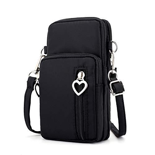 Kleine Damen Handtasche/Geldbörse für Galaxy S10 Plus / S10 / J8 / J7 Prime 2 / J7 Pro/Neo/ZenFone AR / 5Q / 5Z / Max Plus / 4 Max/CAT S60 / NUU Mobile G3, S, schwarz