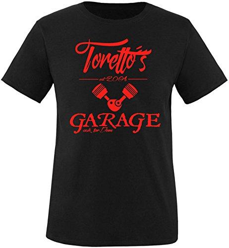 EZYshirt® Toretto´s Garage Herren Rundhals T-Shirt Schwarz/Rot