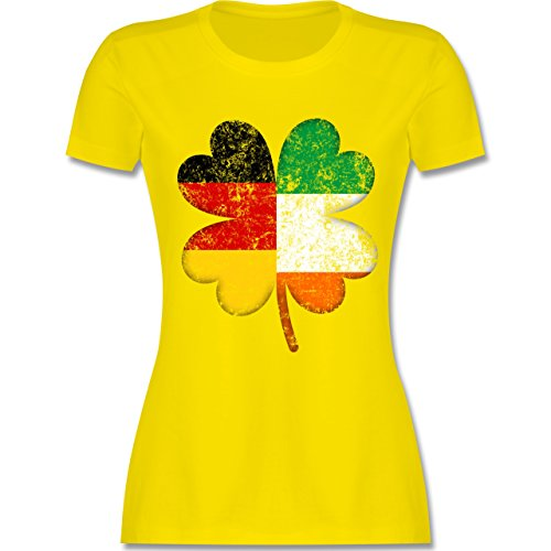 Shirtracer St. Patricks Day - Deutschland Irland Kleeblatt - Damen T-Shirt Rundhals Lemon Gelb