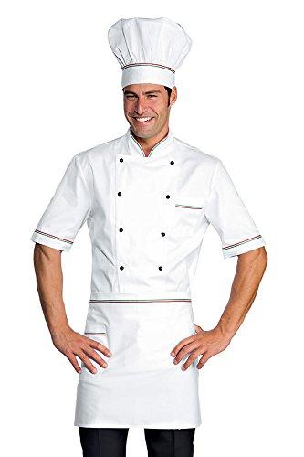 Isacco - Veste Chef Cuisinier Alicante Blanc tricolore 100% Coton Blanc Abricot