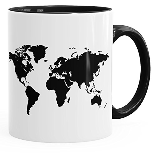 Kaffee-Tasse Weltkarte World Map Teetasse Keramiktasse mit Innenfarbe Autiga® schwarz unisize