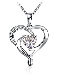 "Silver Necklace, J.Rosée Jewellery 925 Sterling Silver 5A Cubic Zirconia Heart Pendant Necklace Princess Diary Best Birthday Gift for Women Gift Packed (18""+2"" extender), Graduation Gifts"