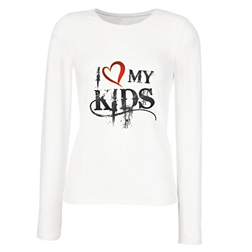 lepni.me Weibliche Langen Ärmeln T-Shirt Ich Liebe Meine Kinder - passendes Hemd für Familie (Large Weiß - Family Fun Pack Kostüm