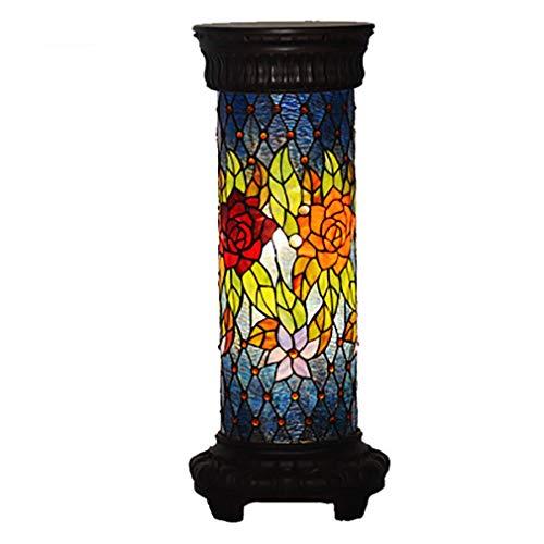 Tiffany Stehlampe Kupfer (Tiffany Stil Stehlampe Wohnzimmer rund Fass-Glaslampenrose)