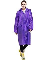 LvRao Mujer chaqueta de impermeable outdoor capa de lluvia con capucha chubasqueros