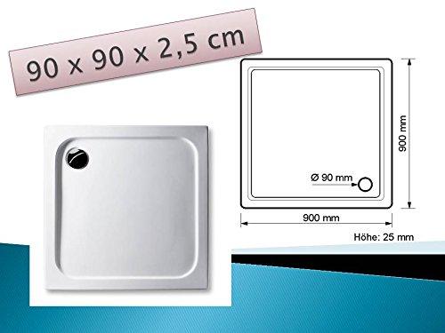 KOMPLETT-PAKET: Duschwanne 90 x 90 cm superflach weiß Acryl + Styroporträger / Wannenträger + Ablaufgarnitur chrom DN 90