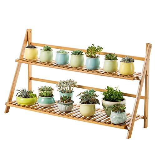 Yxx max Pflanzen-Ständer 2-stöckig Leiter-Form Bambus-Blumenständer für drinnen und draußen, Holz, Khaki, 100cm*31cm*56cm -