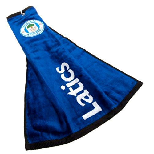 Wigan Athletic F.c.-Asciugamano Tri Fold-Asciugamano da Golf, in metallo, occhielli e Clip con logo ricamato