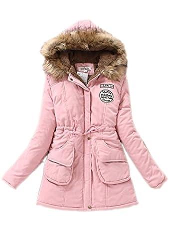 Xfashion Women's Warm Long Cotton-Padded Hooded Winter Jacket Small Pink