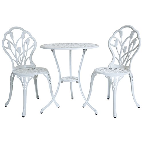 Lot de 2 chaises et 1 table motif tulipes - salon de jardin style bistro - aluminium moulé - blanc