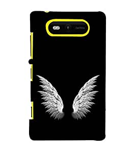 FUSON Glowing Stylized Angel Wings 3D Hard Polycarbonate Designer Back Case Cover for Nokia Lumia 820