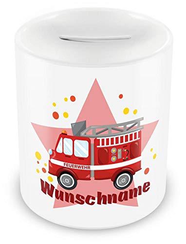Samunshi® Kinder Spardose mit Namen und Feuerwehr-Auto als Motiv für Kinder - Jungen und Mädchen Sparschwein Nr.6: weiß H:95mm / D:82mm