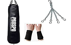 Prospo Black Unfilled 36 Inch Srf Punching Bag with hanging chain and wrist support (Heavy bag)