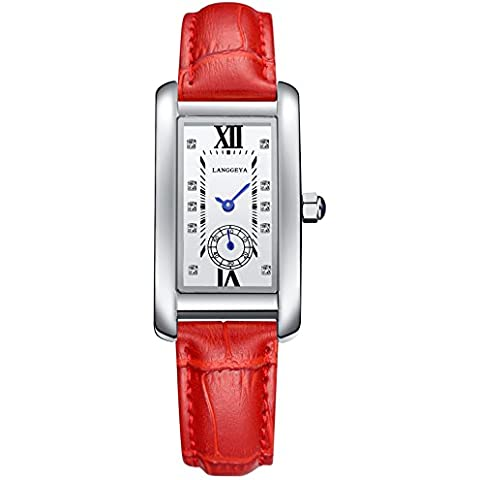 Orologio LANGGEYA Crystal dial watch ladies di quarzo cinturino in pelle , red