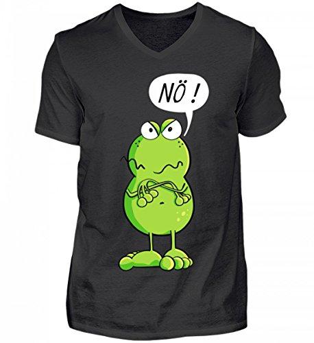 Cooles Nö Frosch Comic Design I Frösche Cartoon I Fun Art Damen Herren Jungen Mädchen - Herren V-Neck Shirt (Frosch-design-schwarz T-shirt)