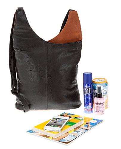 CININO Ledertasche Umhänger 2-COLOR Handtasche Leder +Etui Black / Brown