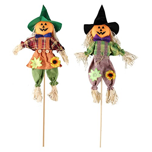 Fall Harvest Vogelscheuche Decor, ifoyo Vogelscheuche dem Spiel Halloween Dekorationen für Garten, Haus, Hof, Veranda, Thanksgiving Decor 23.6in 2 Pack (Halloween-dekorationen Hof)
