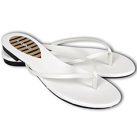 LiKing 041-1 Damen Flip-Flops Zehentrenner Leder off white 39