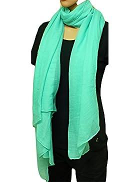[Patrocinado]FIA MONETTI Estola de bufanda de mujer - Verde - 180 x 70 cm - Bufanda en diferentes colores - un accesorio ideal...