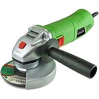 Casals VAG7/115 - Mini amoladora (710 W, disco de corte 115 mm, rosca eje M14, 12.000 rpm, cabezal de aluminio, botón de bloqueo) color verde y negro