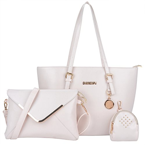 Imagen de coofit 3 en 1 bolso de mujer, cross body bag y monedero, hecho de cuero, bolso  para mujer 3 pcs set bolsos de mano bolsos fiestabolsos bandolera style 2