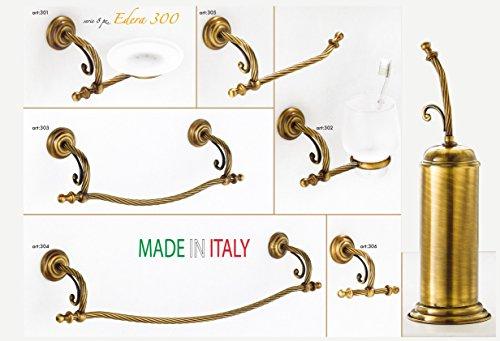 Joshop-set accessori arredo bagno serie edera 300 in ottone bronzato