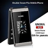 Unlocked Senioren-Handy 1,8 Zoll GSM Mobiltelefon Dual SIM Klapphandy Falten Flip Kostenlos Basic Einfach Klapphandy Klein Handlich Drahtloses FM-Radio Dual-TFT-Bildschirm mit Kamera (Schwarz)