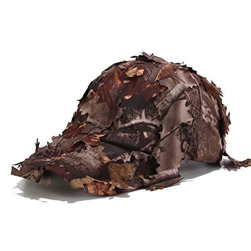 Junjie der Damen Hut die Kappe Schlägermütze Taktische Militärkappenhüte mit Bionic Leaf Camo Jagdhut Versteckte Dschungelkappe -