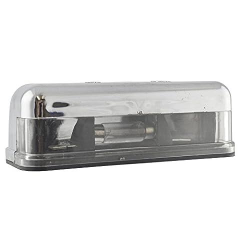 Kennzeichenbeleuchtung / Lampe chrom für Anhänger, Wohnwagen, Oldtimer TR187