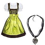 Dirndl Set 3 TLG.braun mit Stickerei in Verschiedenen Farben + Halskette Grün 40