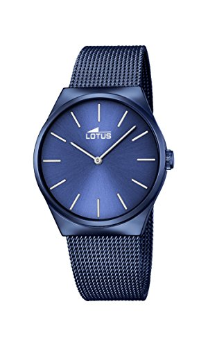Lotus Unisex Quartz Watch with Blue Dial Analogue Display and Blue Stainless Steel Plated Bracelet 18287/2
