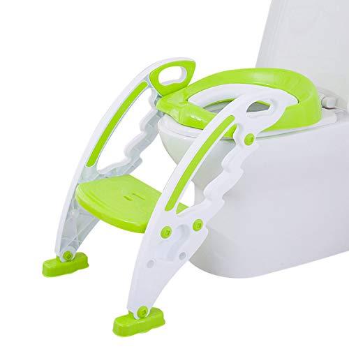 Bieco 11002696 Toilettentrainer zum Auflegen auf WC, mit rutschfester Leiter und Toilettensitz für Kinder, grün