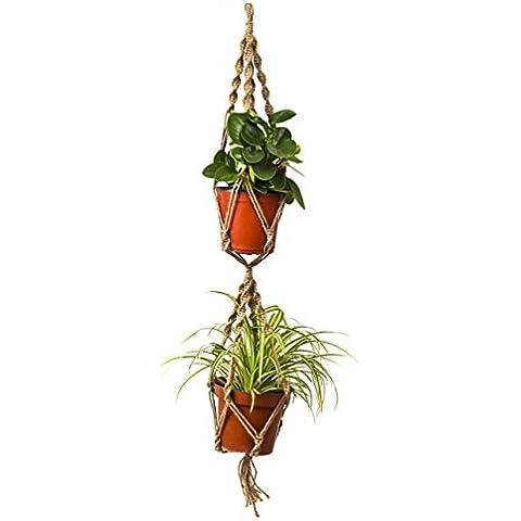 Yiyu 40 Pulgadas Percha de Macarme para 2 Macetas de Planta, Cuerda Hecha a mano Colgante para Suspensión de Plantas Yute 4 Patas para Decoración de Oficina Jardín Balcón, Una cuerda para 2 Macetas