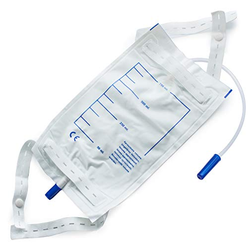 AIESI Sacche per urina da gamba riutilizzabili capacità 750 ml tubo 30 cm con rubinetto di scarico e valvola anti-reflusso (Confezione da 8 pezzi)  Parte posteriore in TNT traspirante
