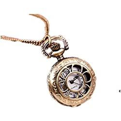 Kolylong Fashion Vintage Flower Retro Bronze Quartz Pocket Watch Pendant Chain Necklace