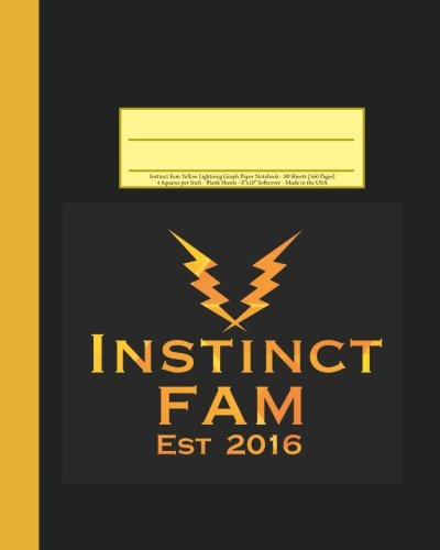 """Instinct Fam Yellow Lightning Graph Paper Notebook: 160 Page Softcover Journal, 4 Squares per Inch Graph Paper, 8""""x10"""" Blank Book, Workbook for Math & Science, Students, and Teachers"""