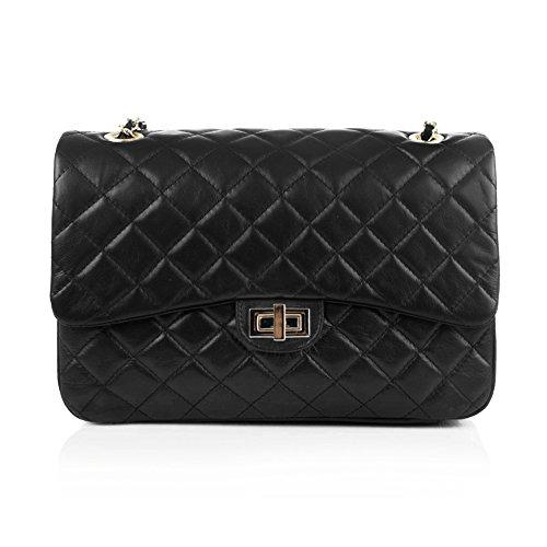 COSTANZA JUMBO Schulter Clutch Handtasche, große gesteppte Leder Handtasche mit Licht Gold Kette Leder Schulter, glattes weiches Leder (schwarz) (Leder Falten Italienischen)