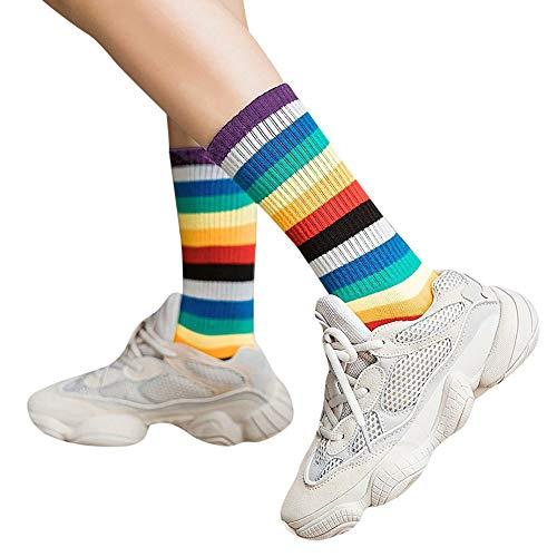 tohole 1 Paar Damen In Strümpfen Regenbogenfarbe Socken Baumwolle Retro-Strümpfe Overknee Überknie Kniestrümpfe Mädchen Hold-up-Strümpfe Retro Schüler Knitting Sportsocken