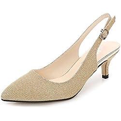 OCHENTA Zapatos de Tacón Clásicos Espigones con Hebillas y Tiras EN La Parte Trasera para Mujer Glitter Gold EU 45