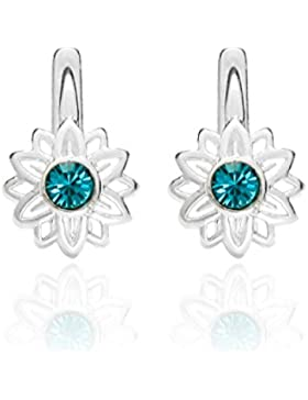 butterfly Mädchen Silber-Ohrringe echt Silber türkis Swarovski Elements original Blume Schmuck-Beutel, kleine...