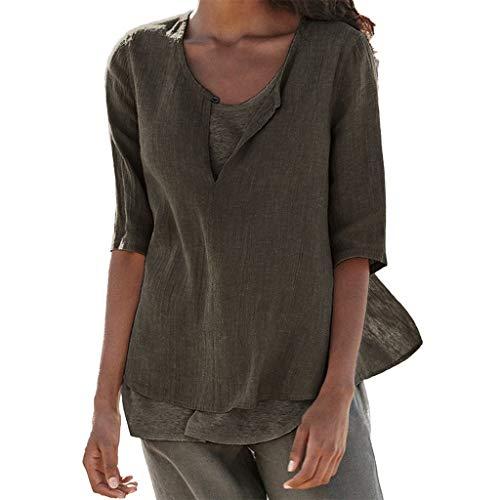 Frauen Lose Leinen Lässige Button V Ausschnitt Plus Size Solide Shirt Bluse Tunika Tops Einfarbiges, Weit Geschnittenes T Shirt Aus Baumwolle Und Leinen