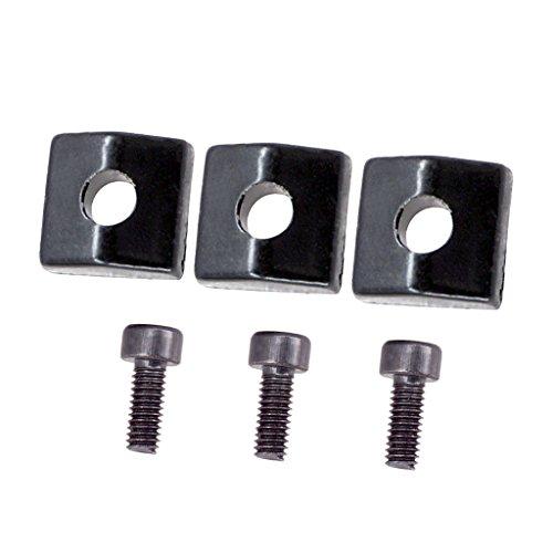 Baoblaze 3 Stück E-Gitarren Sattelklemmer Locking Nut und Schrauben für Tremolo Brücke Ersatzteile - Schwarz