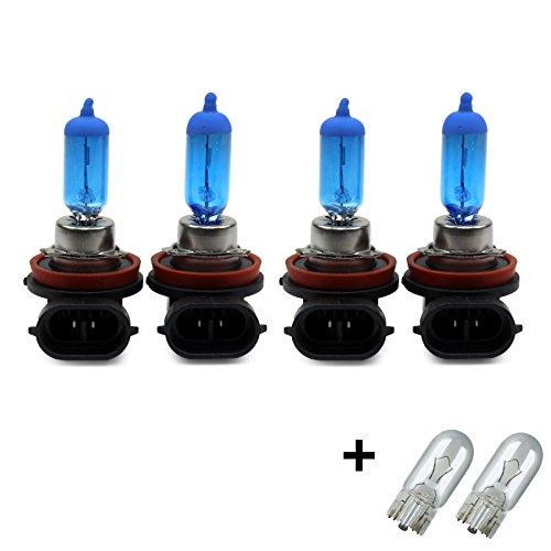 INION® SET- 4x Stück H8 35W PGJ19-1 12Volt UV-Kristallglas mit GAS - XENON OPTIK Halogen Lampen Long Life Birnen Super White + 2x T10 Glassockellampen KFZ Autolampen