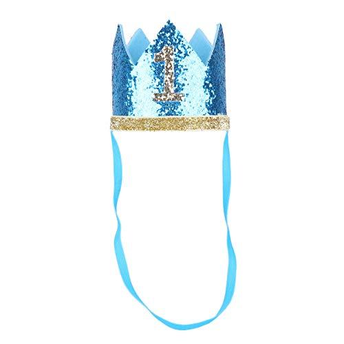 Tiaobug 1. Geburtstag Party Kronen mit Zahlen Baby Junge Mädchen 1 jahr Party Kopfschmuck Hut Prinzessin Prinz Kronen Dekoration Zubehör Accessoires für Fotoshooting Türkis B One Size