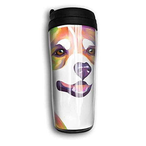 Qurbet Tazza da Viaggio da caffè, Insulated Bottiglia d'Acqua, Rainbow Corgi Portrait, Milk Tea Drinking Bottiglia d'Acqua Coffee Mug Reusable Plastic Curve Travel Mug for Kids Teens Adults