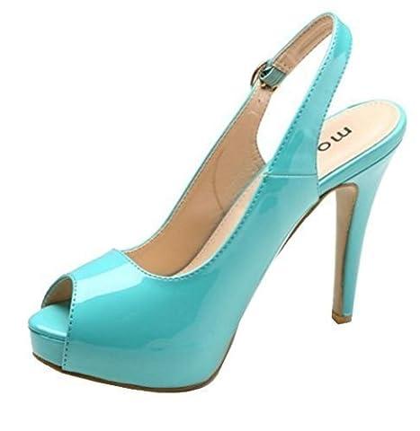 Womens Ladies Faux Patent High Stiletto Heel Peeptoe Platform Sling Back Fashion Sandals Shoes - E67 (UK 8 / EU 41,