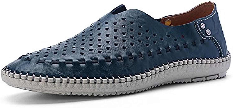Zapatos de Guisantes de los Hombres de Verano Zapatos de Costura Hechos a Mano ahuecados