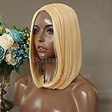 QD-Tizer Perücke, blond, Bob, kurz, natürlich, glatt, Kunsthaar, tiefer Scheitel, Farbe Nr. 613, Blond-Orange, ohne Spitze, Halloween-Kostüm, 1 Stück